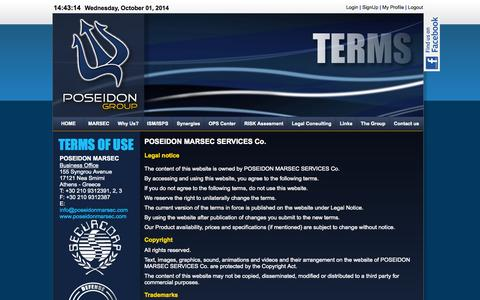 Screenshot of Terms Page poseidonmarsec.com - POSEIDON MARSEC -Terms - captured Oct. 1, 2014