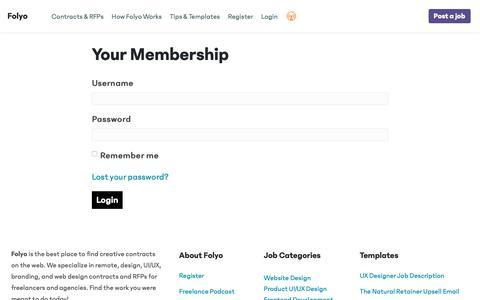 Screenshot of Login Page folyo.me - Your Membership - Folyo - captured June 8, 2019