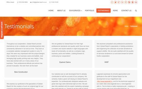 Screenshot of Testimonials Page global-reach.co.uk - Global Reach | Testimonials - Global Reach Development - captured June 9, 2016