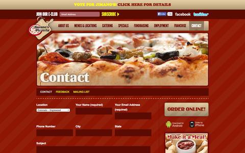 Screenshot of Contact Page jimanos.com - Jimanos Pizzeria  - Contact - captured Oct. 6, 2014