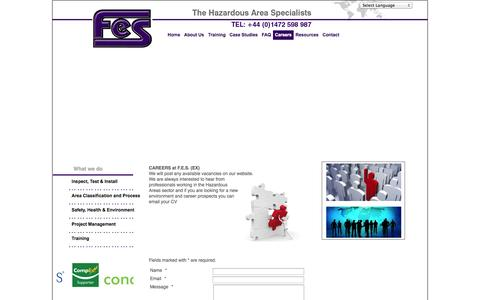 Screenshot of Jobs Page fes-ex.com - FES: Hazardous Area Specialists  - Careers - captured Oct. 4, 2014