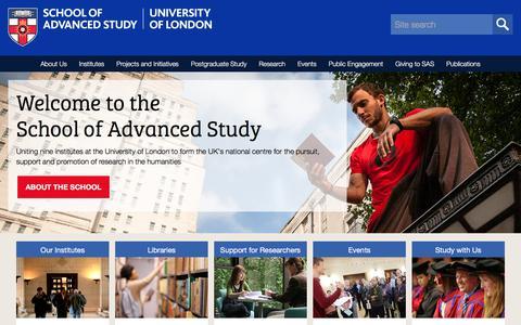 Screenshot of Home Page sas.ac.uk - School of Advanced Study - captured Sept. 22, 2018