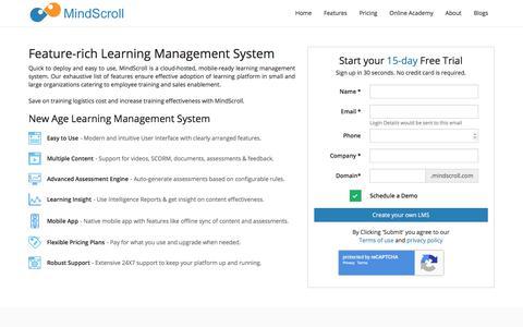 Screenshot of Trial Page mindscroll.com - Free Trial - MindScroll LMS | Cloud LMS | MindScroll Learning Management System - captured Sept. 21, 2018