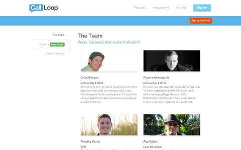 Screenshot of Team Page callloop.com - Meet The Team   Call Loop - captured July 18, 2014