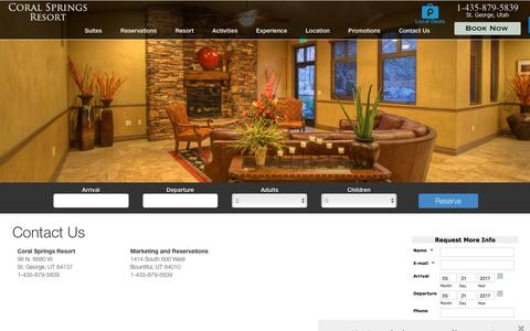 Screenshot of Contact Page coralspringsresort.com - Contact Us | St. George Utah - captured May 21, 2017