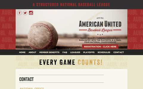 Screenshot of Contact Page aubl.com - Contact | American United Baseball League | AUBL - captured Sept. 30, 2014