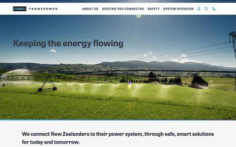 Screenshot of Home Page transpower.co.nz - Transpower | We connect New Zealanders to their power system, through safe, smart solutions for today and tomorrow. - captured Dec. 15, 2016