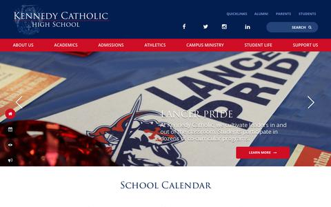 Screenshot of Home Page kennedyhs.org - Home - Kennedy Catholic High School - captured Oct. 15, 2018