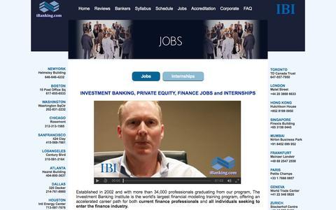 Screenshot of Jobs Page ibtraining.com - Investment Banking Jobs - Banking Career Path - IBI - captured Nov. 26, 2016