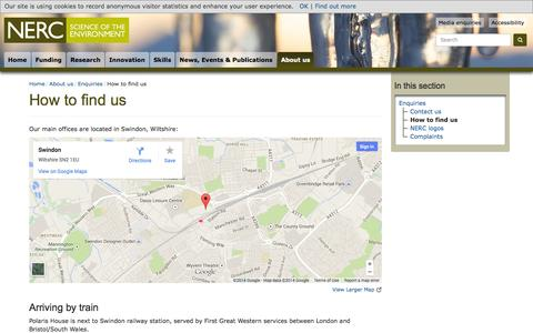 Screenshot of Maps & Directions Page nerc.ac.uk - NERC - How to find us - captured Oct. 7, 2014