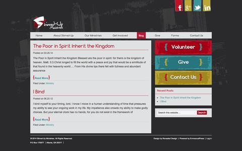 Screenshot of Blog stirred-up.org - Blog - Stirred-Up Ministries - captured Oct. 3, 2014
