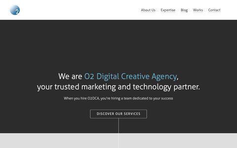 Screenshot of Home Page o2dca.com - O2 Digital Creative Agency - captured Oct. 18, 2018