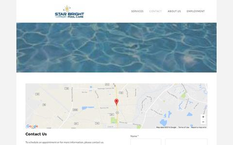 Screenshot of Contact Page starbrightpoolcare.com - Contact - Star Bright Pool Care - captured Dec. 9, 2016