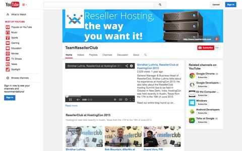 Screenshot of YouTube Page youtube.com - TeamResellerClub  - YouTube - captured Oct. 29, 2014