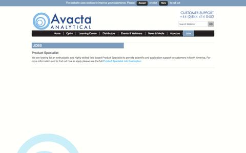 Screenshot of Jobs Page avactaanalytical.com - Jobs Archives - Avacta Analytical - captured Sept. 30, 2014
