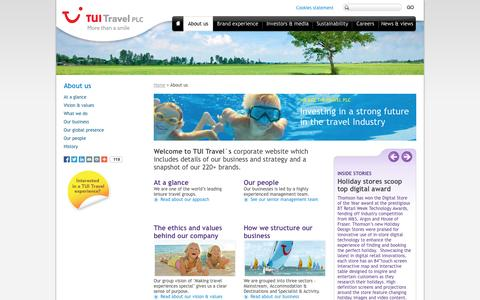 Screenshot of About Page tuitravelplc.com - About us | TUI Travel PLC - captured Sept. 24, 2014