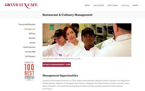 Screenshot of Team Page grandluxcareers.com - Grand Lux Cafe Management Opportunities - captured July 2, 2016