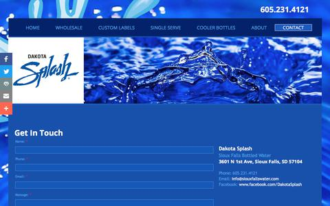 Screenshot of Contact Page dakotasplash.com - Contact Dakota Splash | Wholesale Sioux Falls Water Bottles, Water Coolers, Custom Labels, Water Sales And Delivery | Sioux Falls, SD - captured Aug. 5, 2018