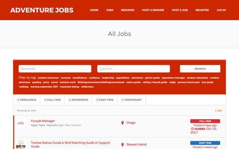 Screenshot of Jobs Page adventurejobs.co.nz - Jobs | Adventure Jobs - captured Oct. 7, 2017