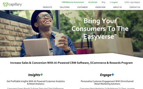 Screenshot of Products Page capillarytech.com - Enterprise CRM, eCommerce & Rewards Program | Capillary - captured May 22, 2019