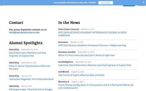 Screenshot of Press Page nycdatascience.com - Interviews & News | NYC Data Science Academy - captured Nov. 13, 2017