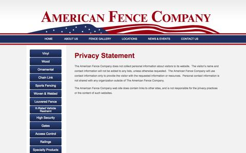 Screenshot of Privacy Page theamericanfencecompany.com - Privacy Statement - The American Fence Company - captured Oct. 4, 2014