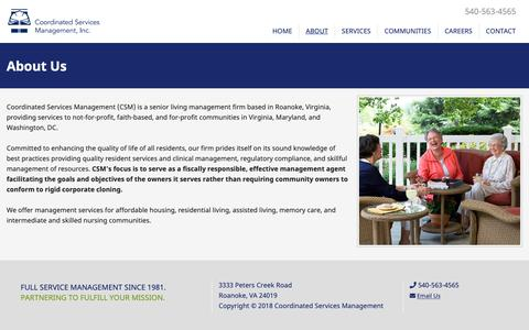 Screenshot of About Page csmmanagement.com - Coordinated Services Management - captured Sept. 29, 2018