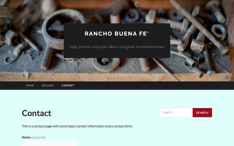 Screenshot of Contact Page wordpress.com - Contact   Rancho Buena Fe' - captured April 2, 2017