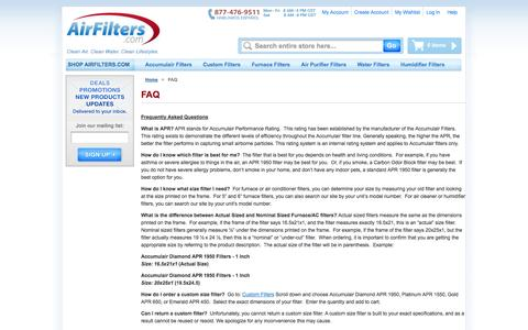 Screenshot of FAQ Page airfilters.com - FAQ - captured Oct. 27, 2014