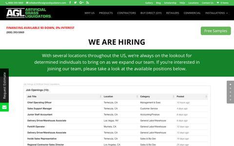 Screenshot of Jobs Page artificialgrassliquidators.com - Artificial Grass Liquidators Careers - captured Nov. 6, 2018