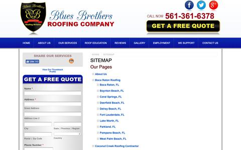 Screenshot of Site Map Page bluesbrothersroofing.com - HTML Sitemap - Boca Raton Roofing Contractor, Roofer   Blues Brothers Roofing Company - captured Nov. 13, 2018