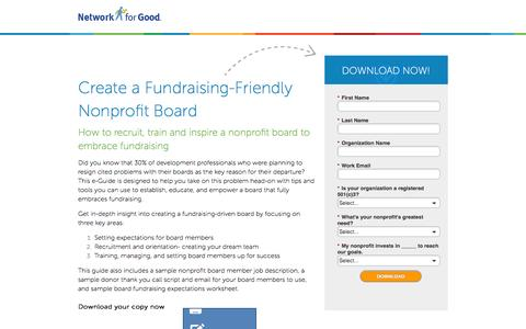 Screenshot of Landing Page networkforgood.com - Create a Fundraising-Friendly Nonprofit Board - captured Oct. 30, 2016