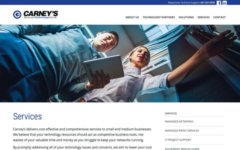 Screenshot of Services Page carneys.com - Services - Carney's Business Technology Center - captured Sept. 27, 2018