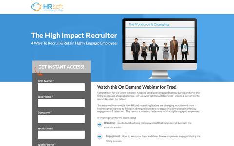 Screenshot of Landing Page hrsoft.com - The High Impact Recruiter - captured Sept. 6, 2016