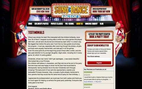 Screenshot of Testimonials Page songanddancefactory.com - Testimonials - interactive dancing, Musical Instruments, spectacular magic tricks and an amazing lighting show - captured Oct. 9, 2014
