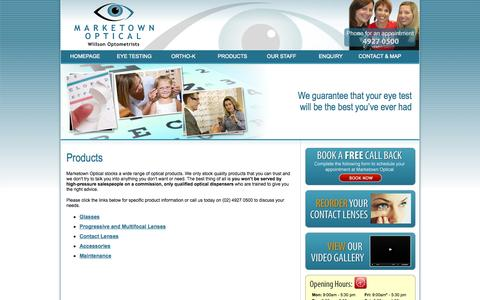 Screenshot of Products Page marketownoptical.com.au - Newcastle Glasses and Accessories - Marketown Optical Newcastle - captured Oct. 27, 2014