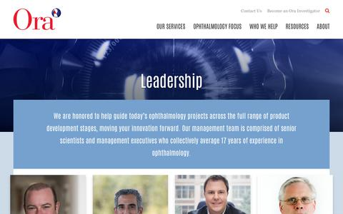 Screenshot of Team Page oraclinical.com - Our Leadership and Management Team | Ora - captured Oct. 18, 2018