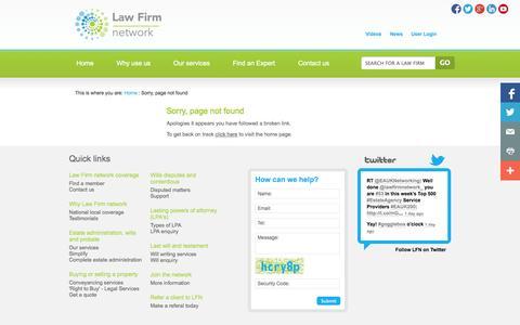 Screenshot of Testimonials Page lawfirmnetwork.co.uk - 404 - captured Sept. 29, 2014