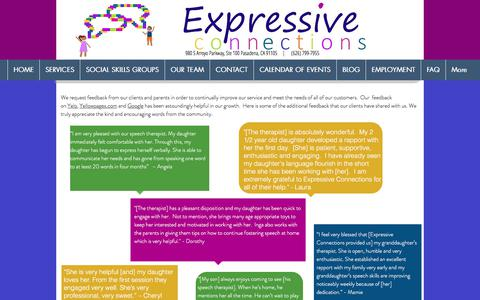 Screenshot of Testimonials Page expressiveconnections.org - Testimonials - Pasadena - Expressive Connections - captured July 23, 2018