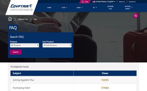 Screenshot of FAQ Page egyptair.com - EGYPTAIR -  FAQ - captured Sept. 27, 2018