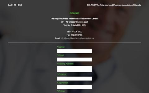 Screenshot of Contact Page cacds.com - Neighbourhood Pharmacy Association of Canada: Contact - captured Oct. 1, 2014