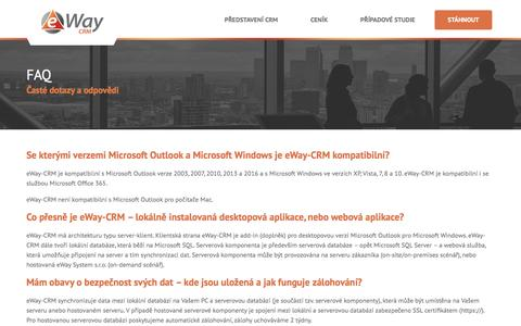 Screenshot of FAQ Page eway-crm.com - FAQ - Časté dotazy a odpovědi - eWay-CRM - CRM v Outlooku - captured Nov. 14, 2016