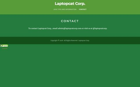 Screenshot of Contact Page laptopcatcorp.com - Contact – Laptopcat Corp. - captured Sept. 27, 2018
