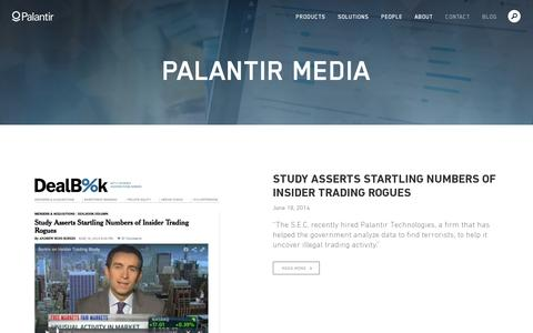 Screenshot of Press Page palantir.com - Palantir Media   Palantir - captured July 18, 2014