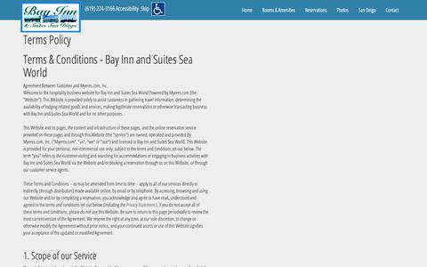 Screenshot of Terms Page bayinnsandiego.com - Terms Policy Bay Inn and Suites Sea World San Diego California CA Hotels Motels Accommodations - captured Dec. 18, 2018