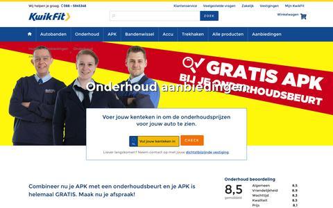 Screenshot of kwik-fit.nl - Voordeel op onderhoud bij KwikFit! - captured April 14, 2016