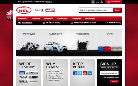 Screenshot of Home Page helperformance.com - HEL Brake Lines | Stainless Steel Braided Brake Hoses - captured Sept. 27, 2014