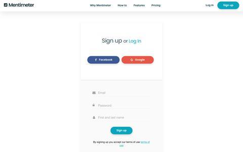Screenshot of Signup Page mentimeter.com - Interactive presentation software - Mentimeter - captured June 16, 2017