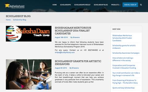 Screenshot of Blog buddy4study.com - Scholarship to study abroad for Indian students - captured Sept. 8, 2016