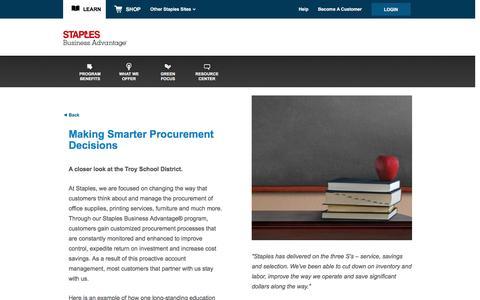 Screenshot of Landing Page staplesadvantage.com - Troy School District Case Study - captured April 6, 2016